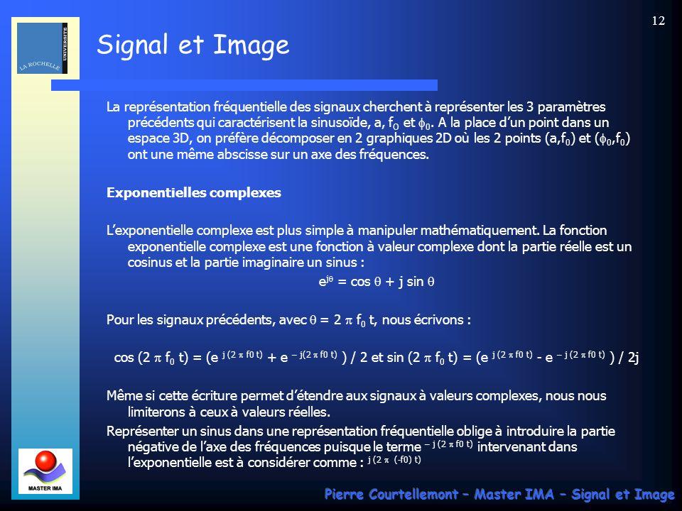 Signal et Image Pierre Courtellemont – Master IMA – Signal et Image 11 Modélisation des signaux En signal, une approche naturelle est lapproche fréque