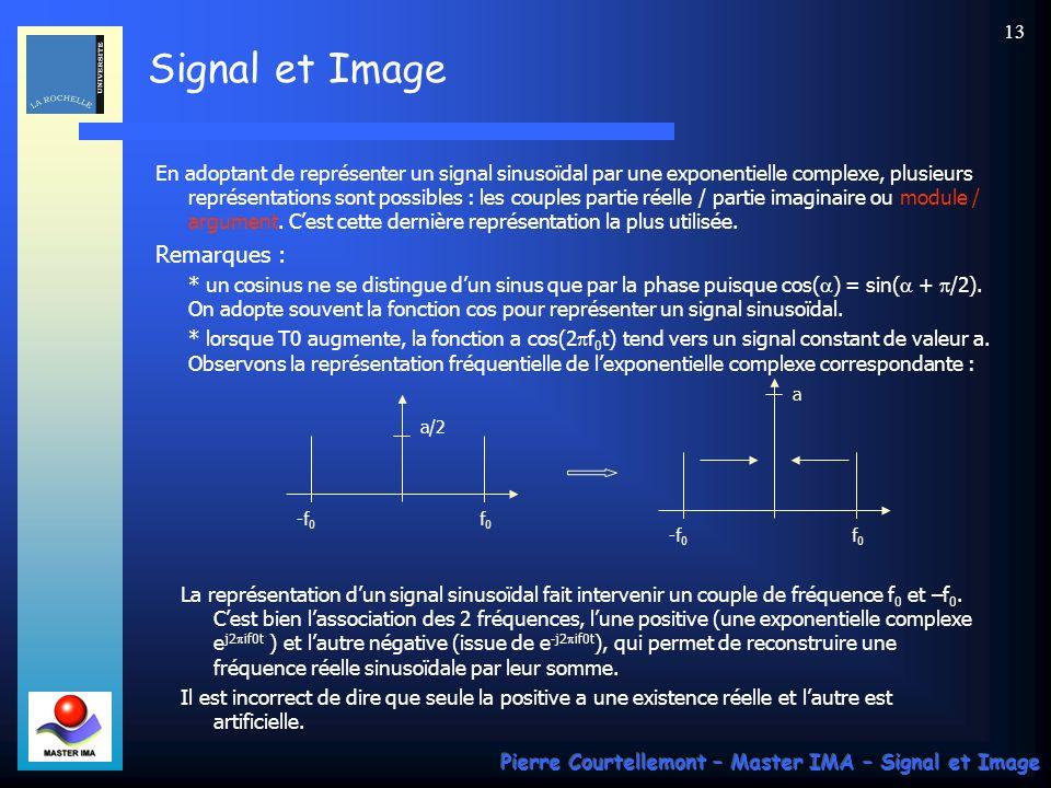 Signal et Image Pierre Courtellemont – Master IMA – Signal et Image 12 La représentation fréquentielle des signaux cherchent à représenter les 3 paramètres précédents qui caractérisent la sinusoïde, a, f O et 0.