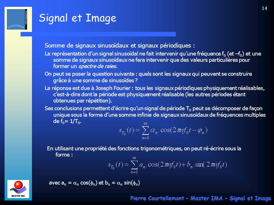 Signal et Image Pierre Courtellemont – Master IMA – Signal et Image 13 En adoptant de représenter un signal sinusoïdal par une exponentielle complexe, plusieurs représentations sont possibles : les couples partie réelle / partie imaginaire ou module / argument.