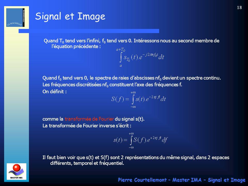 Signal et Image Pierre Courtellemont – Master IMA – Signal et Image 17 Il existe un certain nombre de conditions suffisantes qui garantissent lexistence des coefficients C n.