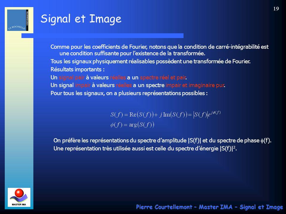 Signal et Image Pierre Courtellemont – Master IMA – Signal et Image 18 Quand T 0 tend vers linfini, f 0 tend vers 0. Intéressons nous au second membre