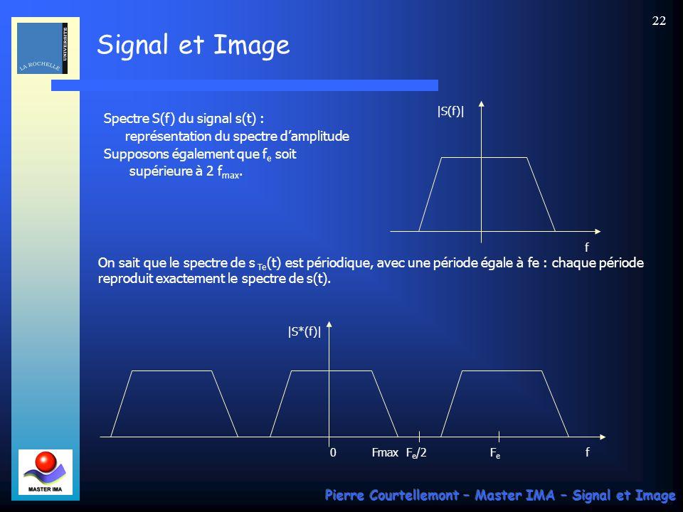 Signal et Image Pierre Courtellemont – Master IMA – Signal et Image 21 Discrétisation des signaux par échantillonnage La manipulation informatique des