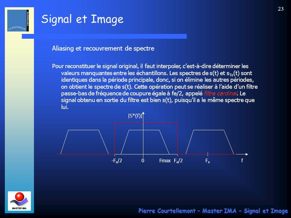 Signal et Image Pierre Courtellemont – Master IMA – Signal et Image 22 Spectre S(f) du signal s(t) : représentation du spectre damplitude Supposons ég