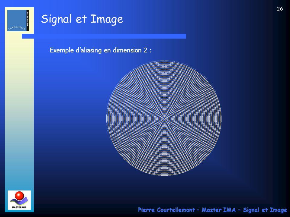 Signal et Image Pierre Courtellemont – Master IMA – Signal et Image 25 Filtre anti-repliement : Le respect du théorème de Shannon impose dutiliser une
