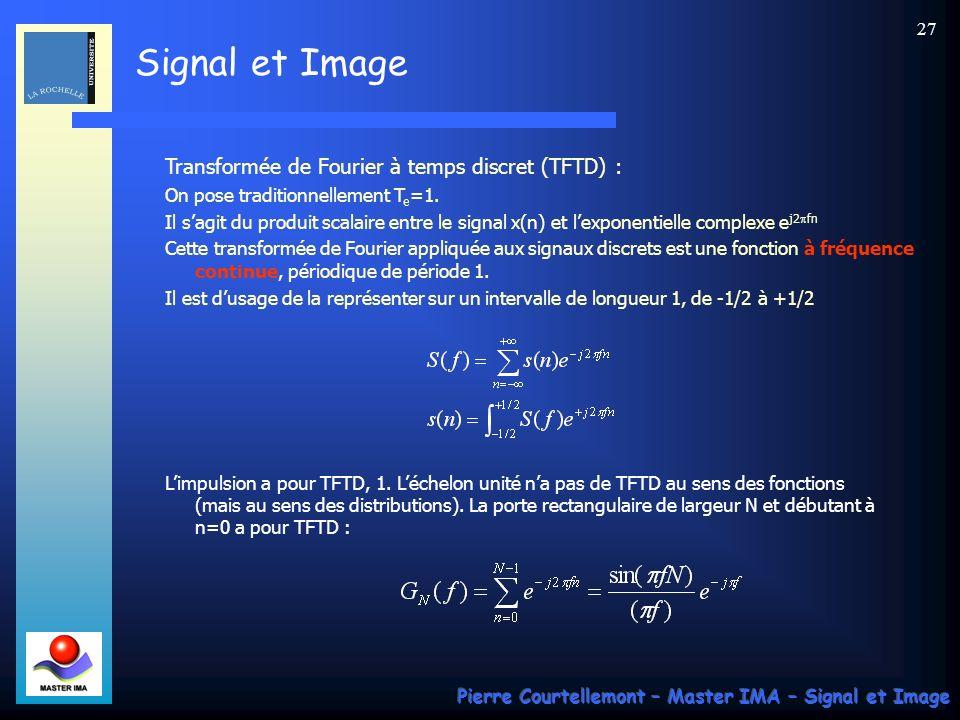 Signal et Image Pierre Courtellemont – Master IMA – Signal et Image 26 Exemple daliasing en dimension 2 :