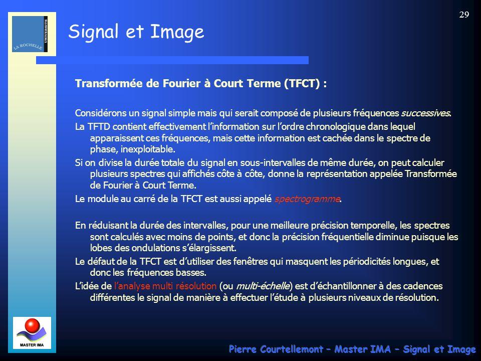 Signal et Image Pierre Courtellemont – Master IMA – Signal et Image 28 Ce résultat permet dexpliquer les ondulations parasites qui apparaissent lors de la mesure pratique des spectres des signaux échantillonnés, qui revient à multiplier le signal par une fenêtre rectangulaire.