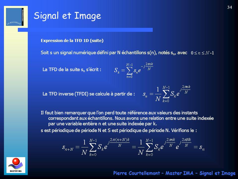 Signal et Image Pierre Courtellemont – Master IMA – Signal et Image 33 Expression de la TFD-1D Comme précédemment, on utilise une décomposition sur une base de fonctions orthogonales.