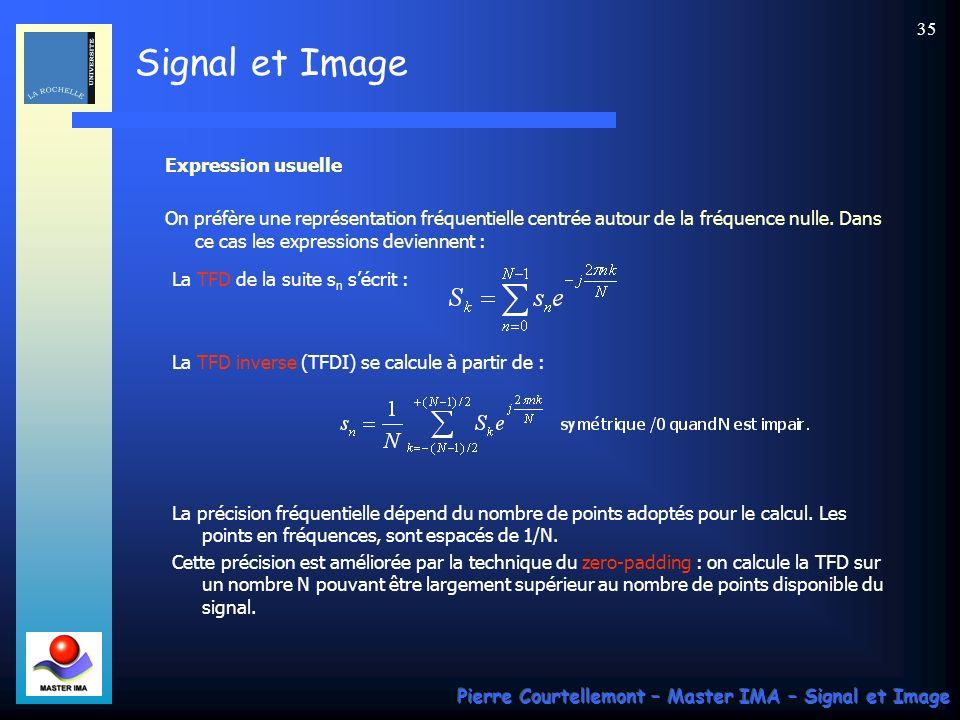 Signal et Image Pierre Courtellemont – Master IMA – Signal et Image 34 Expression de la TFD 1D (suite) Soit s un signal numérique défini par N échanti