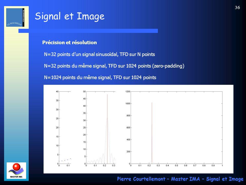 Signal et Image Pierre Courtellemont – Master IMA – Signal et Image 35 Expression usuelle On préfère une représentation fréquentielle centrée autour de la fréquence nulle.
