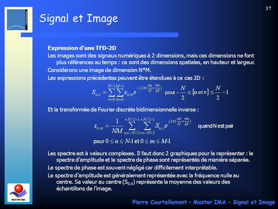Signal et Image Pierre Courtellemont – Master IMA – Signal et Image 36 Précision et résolution N=32 points dun signal sinusoïdal, TFD sur N points N=32 points du même signal, TFD sur 1024 points (zero-padding) N=1024 points du même signal, TFD sur 1024 points