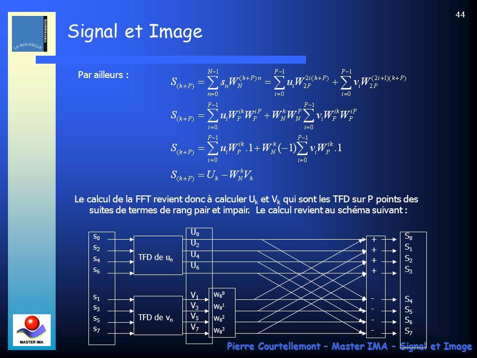 Signal et Image Pierre Courtellemont – Master IMA – Signal et Image 43 Lalgorithme suppose que N est pair : posons N=2 P. Introduisons les 2 sous-suit