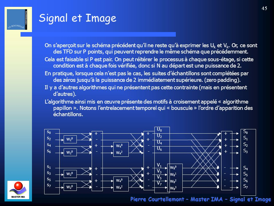 Signal et Image Pierre Courtellemont – Master IMA – Signal et Image 44 Par ailleurs : Le calcul de la FFT revient donc à calculer U k et V k qui sont les TFD sur P points des suites de termes de rang pair et impair.