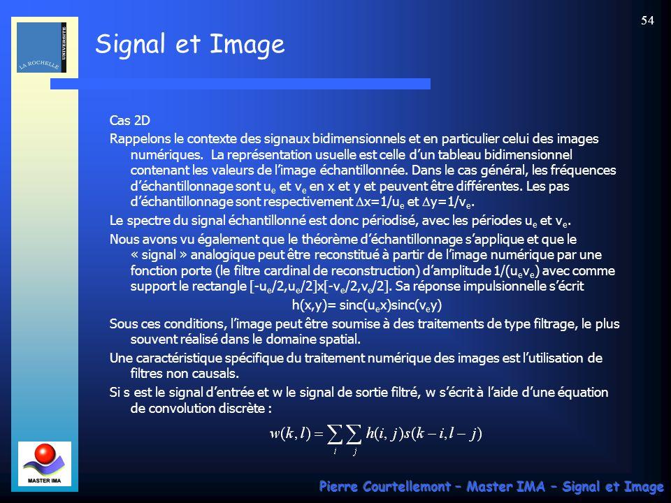 Signal et Image Pierre Courtellemont – Master IMA – Signal et Image 53 1.