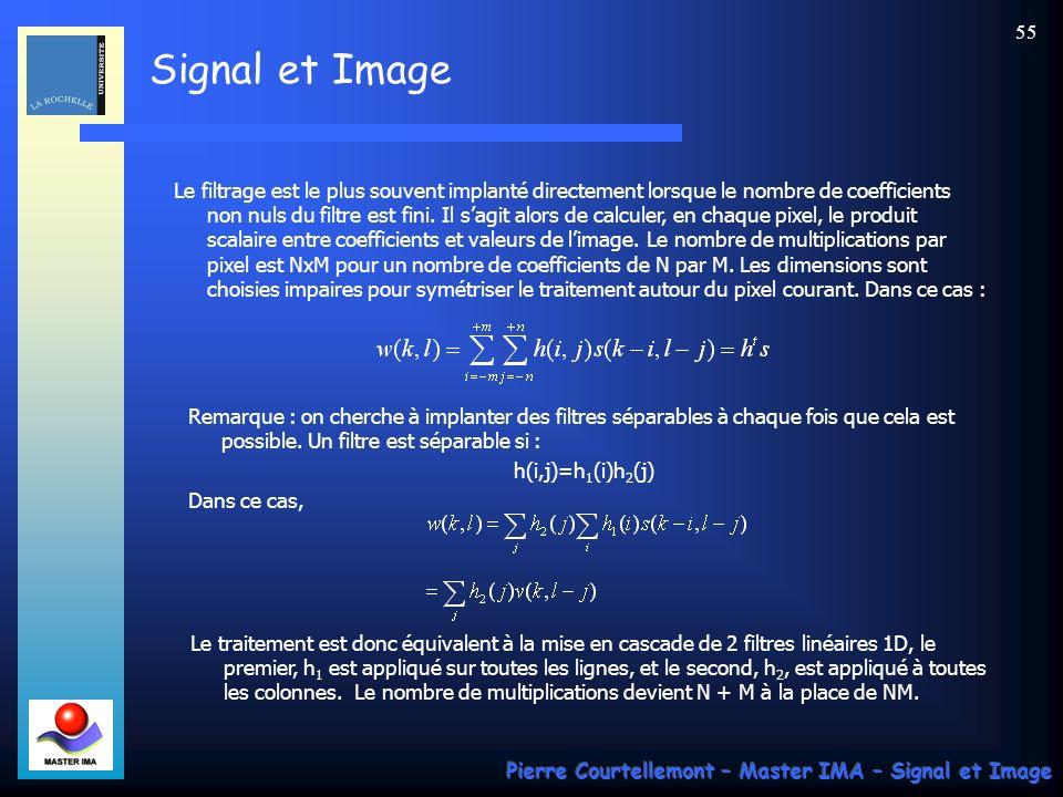 Signal et Image Pierre Courtellemont – Master IMA – Signal et Image 54 Cas 2D Rappelons le contexte des signaux bidimensionnels et en particulier celu