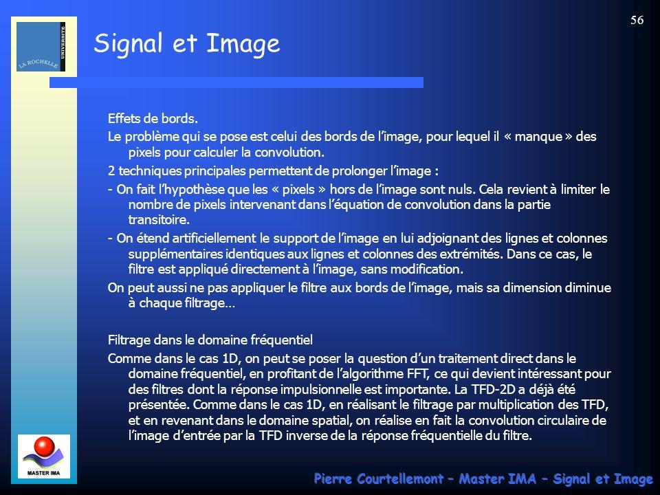 Signal et Image Pierre Courtellemont – Master IMA – Signal et Image 55 Le filtrage est le plus souvent implanté directement lorsque le nombre de coefficients non nuls du filtre est fini.