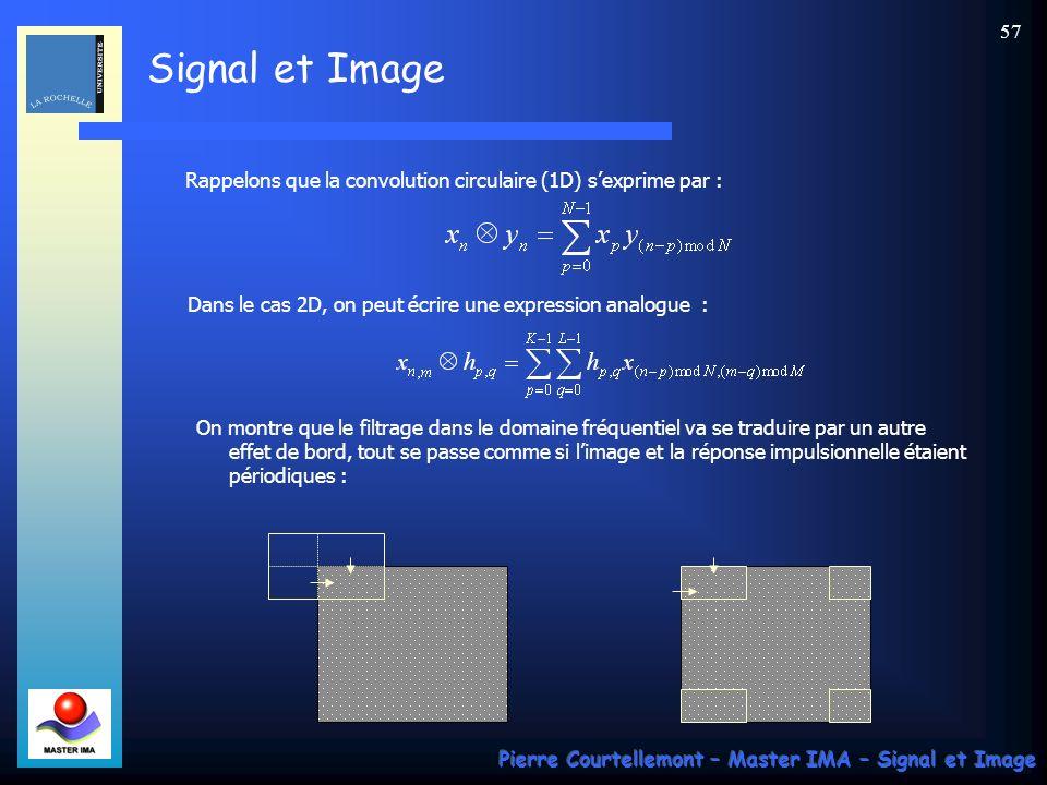 Signal et Image Pierre Courtellemont – Master IMA – Signal et Image 56 Effets de bords. Le problème qui se pose est celui des bords de limage, pour le