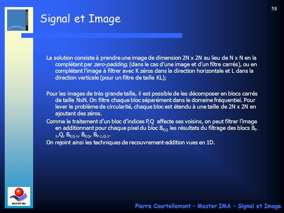 Signal et Image Pierre Courtellemont – Master IMA – Signal et Image 57 Rappelons que la convolution circulaire (1D) sexprime par : Dans le cas 2D, on