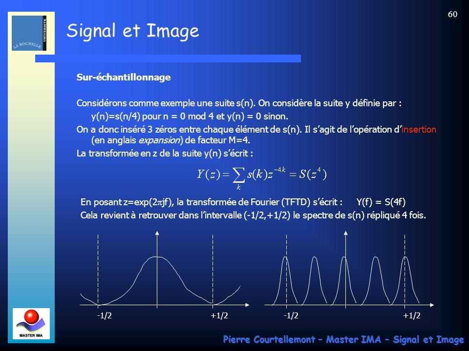 Signal et Image Pierre Courtellemont – Master IMA – Signal et Image 59 Traitements multi-cadences Un système multi-cadence est caractérisé par des « c