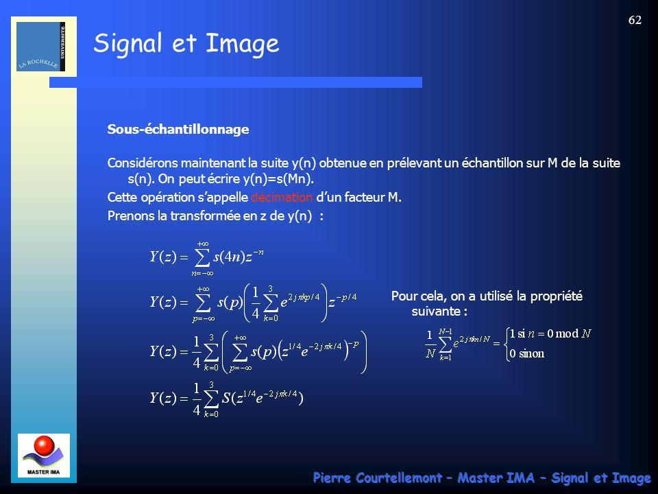Signal et Image Pierre Courtellemont – Master IMA – Signal et Image 61 On dit quil y a apparition dimages ou fréquences-images. Linsertion de zéros en