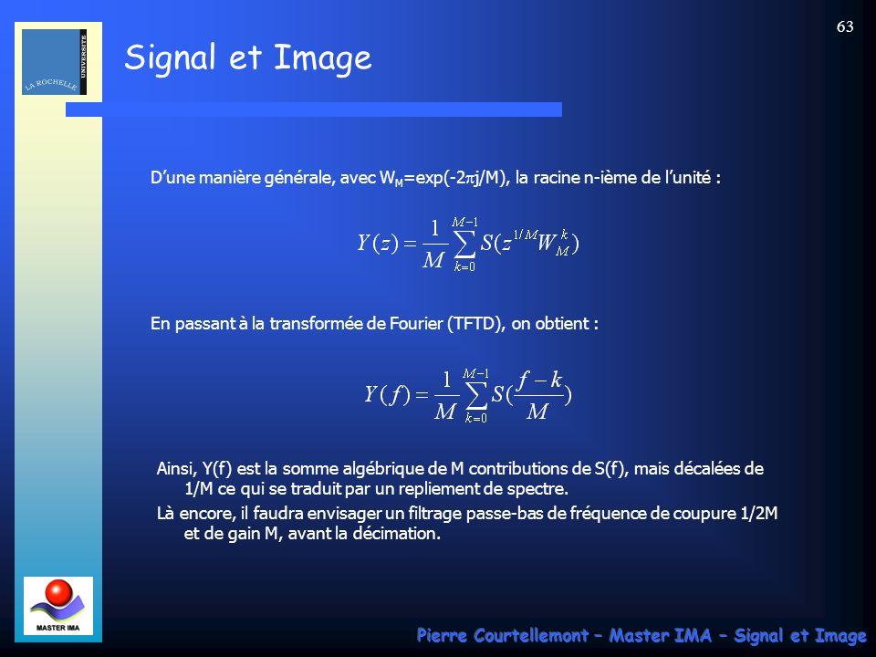 Signal et Image Pierre Courtellemont – Master IMA – Signal et Image 62 Sous-échantillonnage Considérons maintenant la suite y(n) obtenue en prélevant un échantillon sur M de la suite s(n).