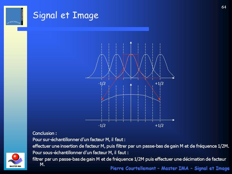 Signal et Image Pierre Courtellemont – Master IMA – Signal et Image 63 Dune manière générale, avec W M =exp(-2 j/M), la racine n-ième de lunité : Ainsi, Y(f) est la somme algébrique de M contributions de S(f), mais décalées de 1/M ce qui se traduit par un repliement de spectre.