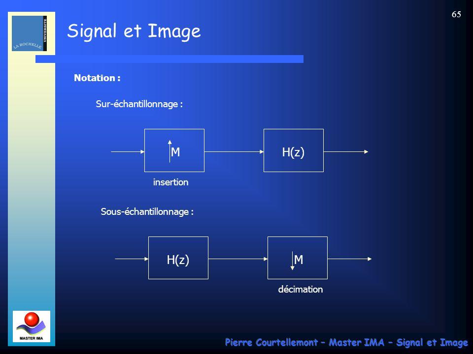 Signal et Image Pierre Courtellemont – Master IMA – Signal et Image 64 Conclusion : Pour sur-échantillonner dun facteur M, il faut : effectuer une insertion de facteur M, puis filtrer par un passe-bas de gain M et de fréquence 1/2M.