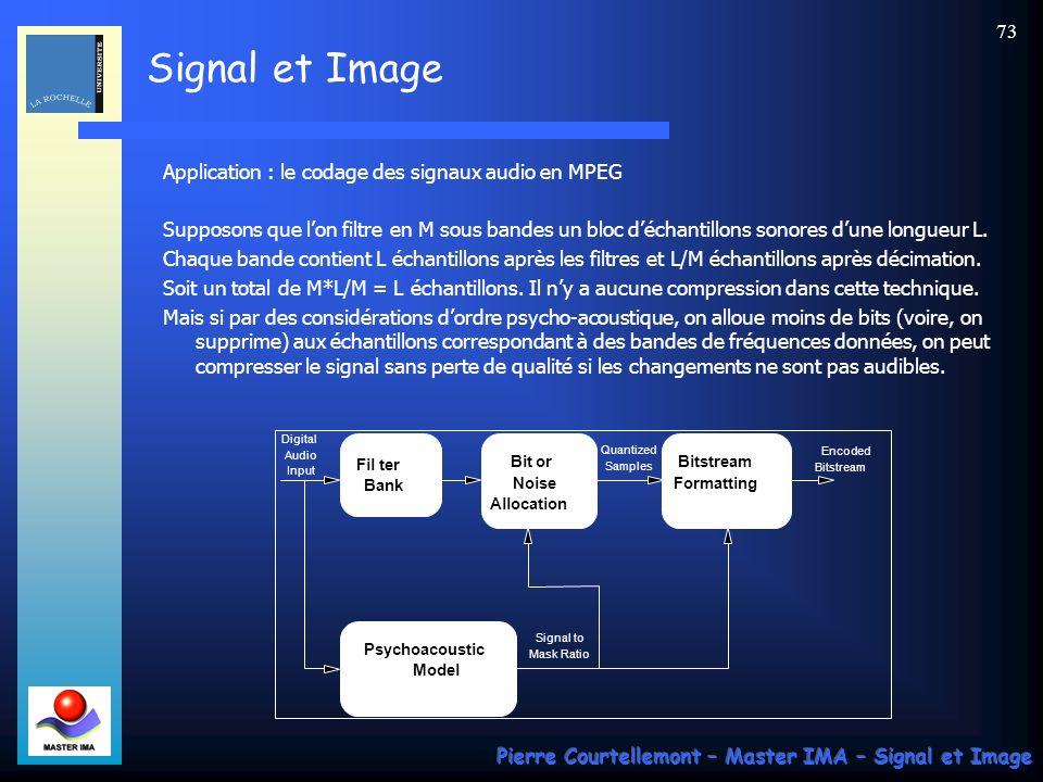 Signal et Image Pierre Courtellemont – Master IMA – Signal et Image 72 Filtres en quadrature QMF Beaucoup de solutions au problème précédent existent.