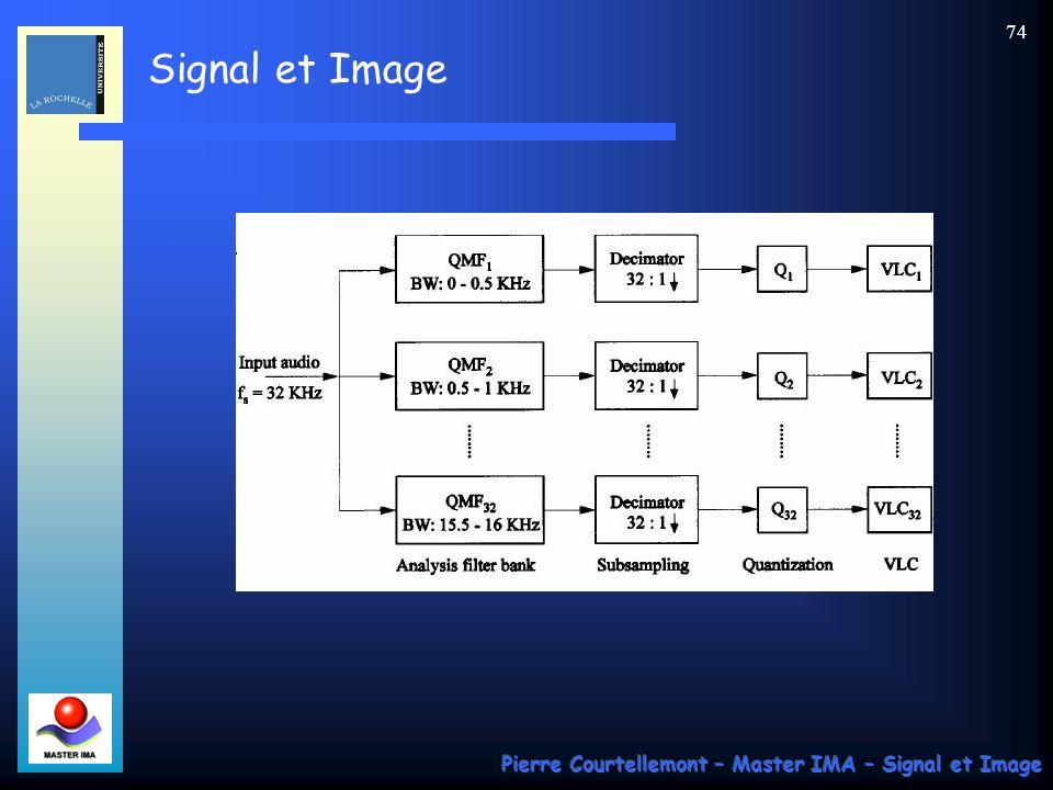 Signal et Image Pierre Courtellemont – Master IMA – Signal et Image 73 Application : le codage des signaux audio en MPEG Supposons que lon filtre en M sous bandes un bloc déchantillons sonores dune longueur L.