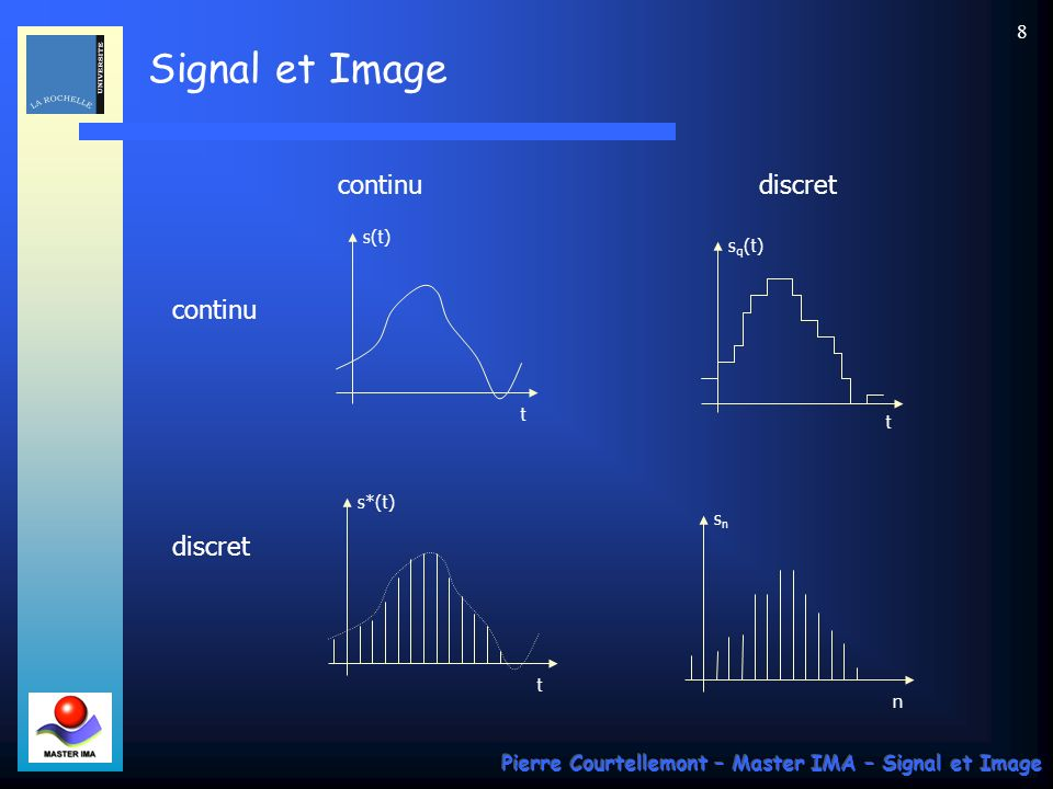 Signal et Image Pierre Courtellemont – Master IMA – Signal et Image 7 Classification des signaux : - selon leur dimension (classification dimensionnelle) Tension électrique v(t) = signal unidimensionnel Image statique niveaux de gris luminance I(x,y) = signal bidimensionnel Séquence dimages I(x,y,t) = signal tridimensionnel La théorie du signal est indépendante de la nature physique du signal - selon le caractère déterministe ou aléatoire (classification phénoménologique) Signal déterministe : lévolution peut être parfaitement prédite par un modèle mathématique approprié Signal aléatoire : comportement imprévisible description statistique tout signal physique comporte une composante aléatoire (perturbation externe, phénomène quantique …) - selon leur nature discrète ou continue (classification morphologique)