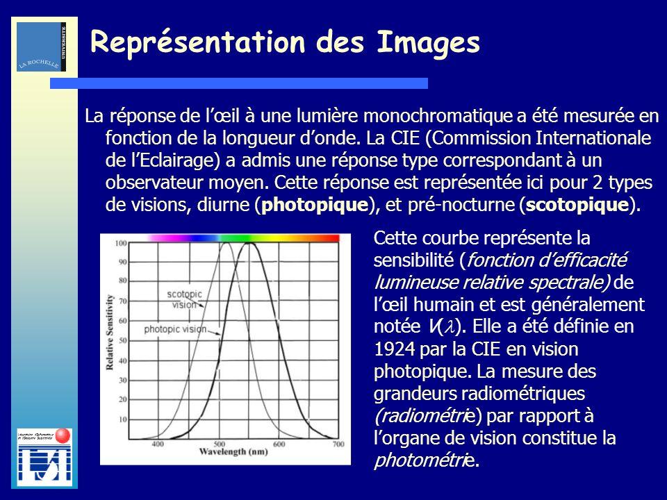 Laboratoire dInformatique et dImagerie Industrielle La réponse de lœil à une lumière monochromatique a été mesurée en fonction de la longueur donde. L