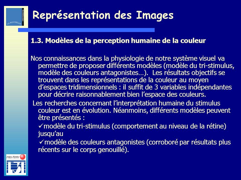 Laboratoire dInformatique et dImagerie Industrielle 1.3. Modèles de la perception humaine de la couleur Nos connaissances dans la physiologie de notre