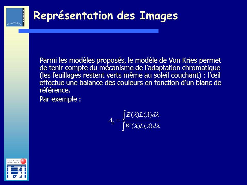 Laboratoire dInformatique et dImagerie Industrielle Représentation des Images Parmi les modèles proposés, le modèle de Von Kries permet de tenir compt