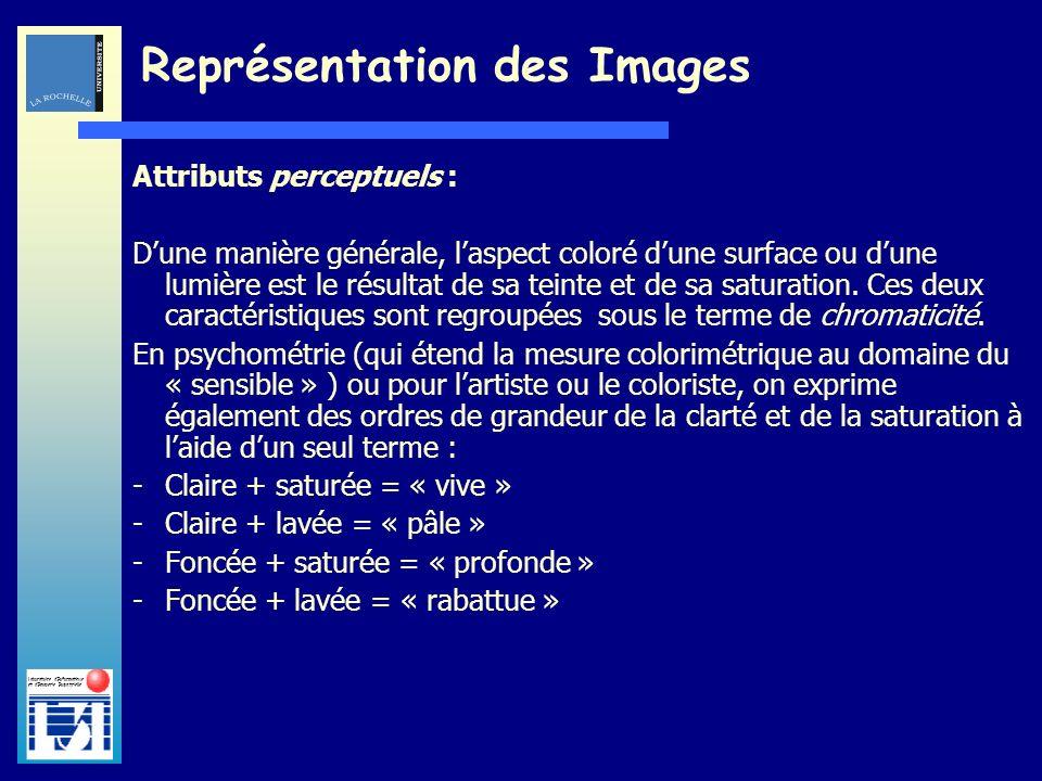 Laboratoire dInformatique et dImagerie Industrielle Attributs perceptuels : Dune manière générale, laspect coloré dune surface ou dune lumière est le
