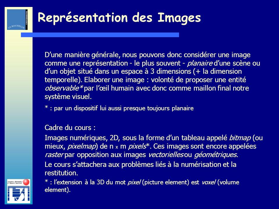 Laboratoire dInformatique et dImagerie Industrielle Représentation des Images Dune manière générale, nous pouvons donc considérer une image comme une