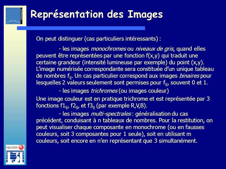 Laboratoire dInformatique et dImagerie Industrielle Représentation des Images On peut distinguer (cas particuliers intéressants) : - les images monoch