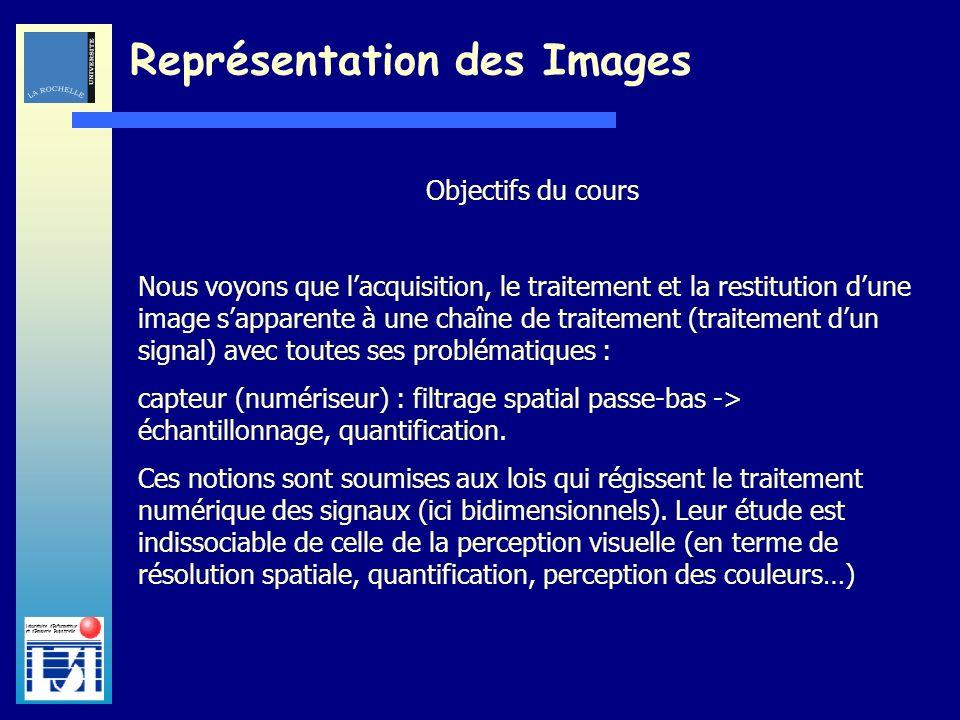 Laboratoire dInformatique et dImagerie Industrielle Représentation des Images Objectifs du cours Nous voyons que lacquisition, le traitement et la res