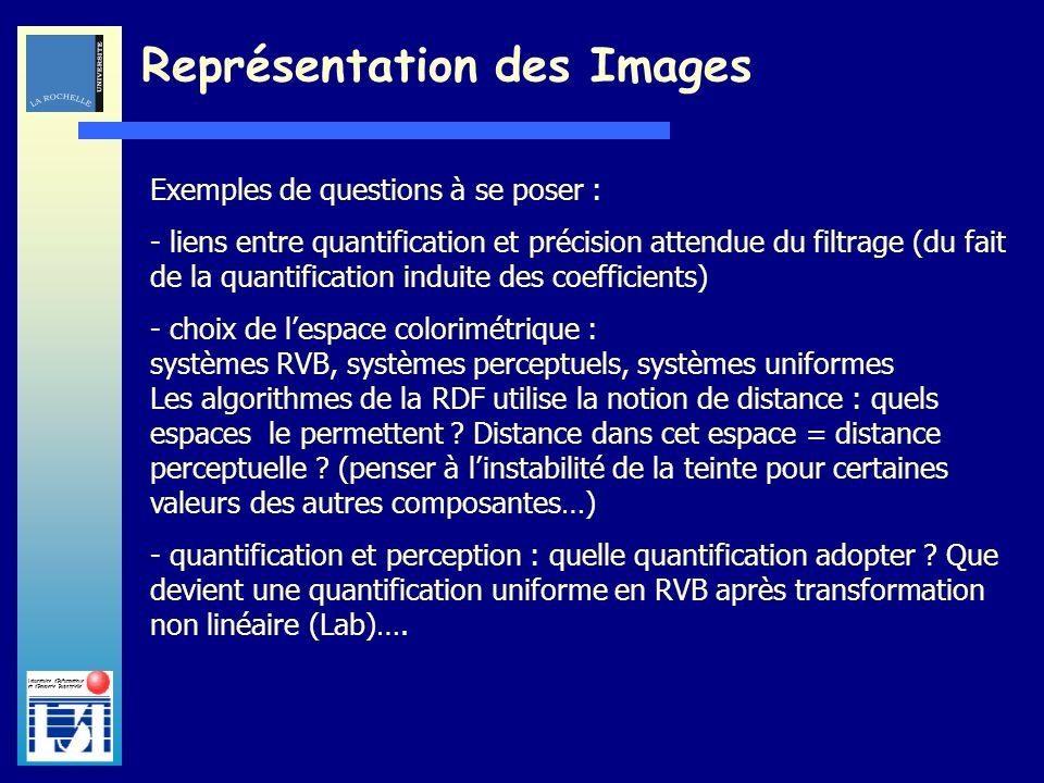 Laboratoire dInformatique et dImagerie Industrielle Représentation des Images Exemples de questions à se poser : - liens entre quantification et préci