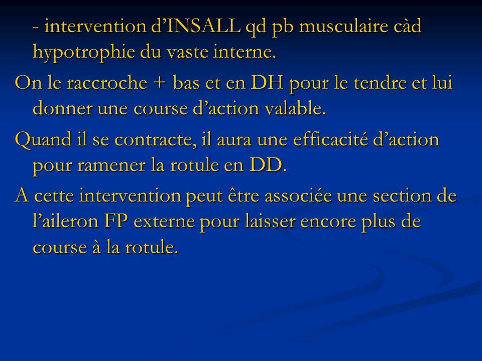 - intervention dINSALL qd pb musculaire càd hypotrophie du vaste interne. On le raccroche + bas et en DH pour le tendre et lui donner une course dacti