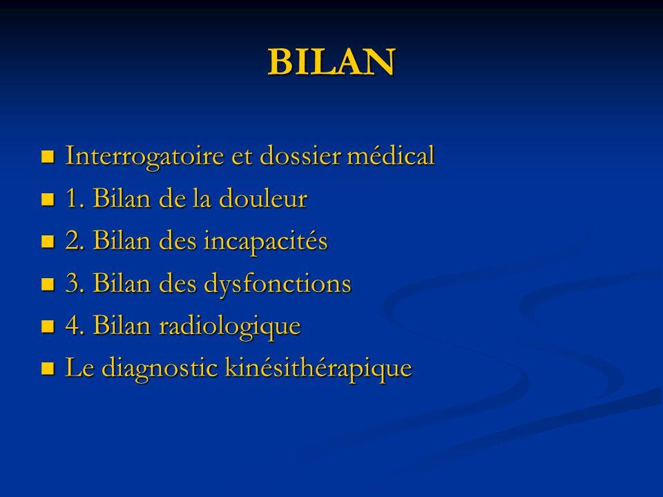 BILAN Interrogatoire et dossier médical Interrogatoire et dossier médical 1. Bilan de la douleur 1. Bilan de la douleur 2. Bilan des incapacités 2. Bi