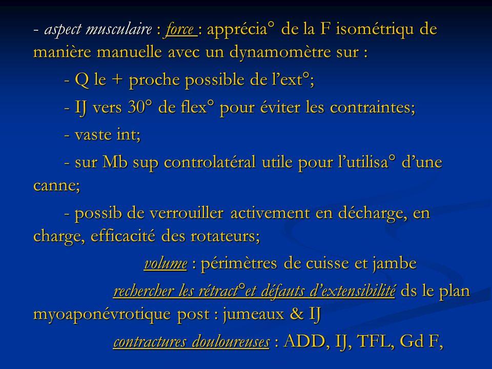 - aspect musculaire : force : apprécia° de la F isométriqu de manière manuelle avec un dynamomètre sur : - Q le + proche possible de lext°; - IJ vers