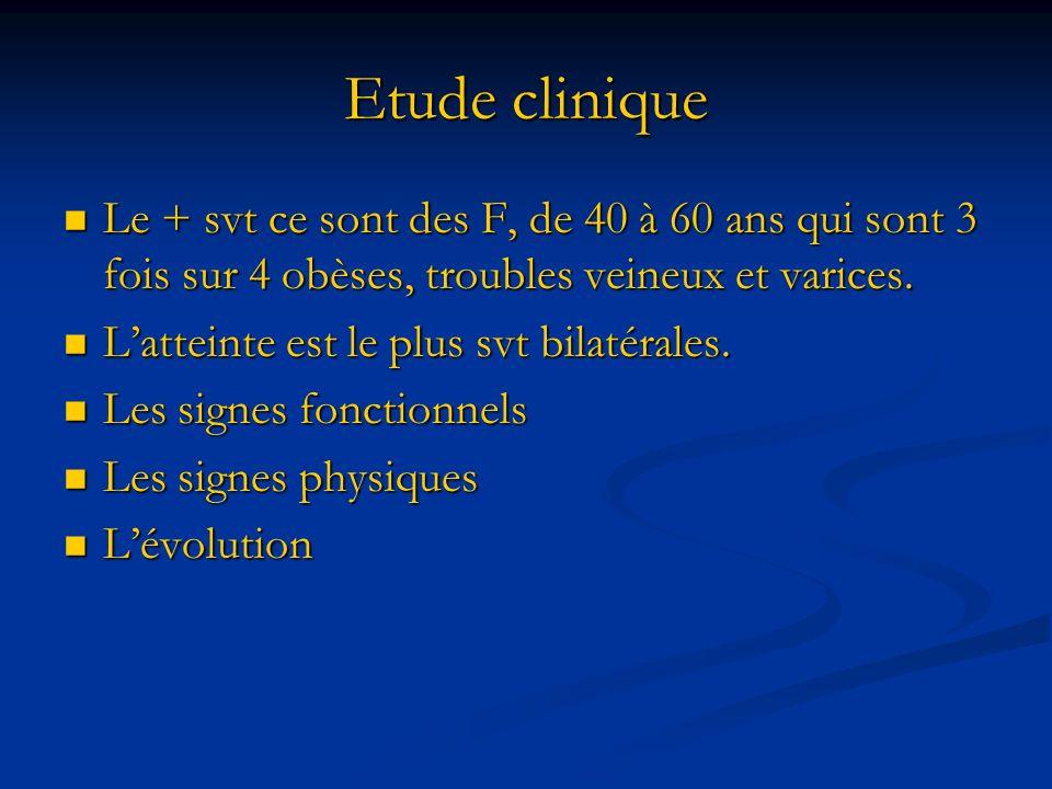 Etude clinique Le + svt ce sont des F, de 40 à 60 ans qui sont 3 fois sur 4 obèses, troubles veineux et varices. Le + svt ce sont des F, de 40 à 60 an