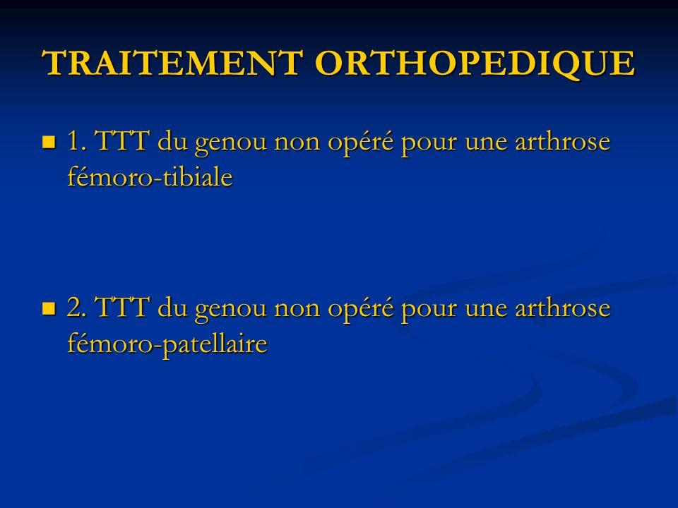 TRAITEMENT ORTHOPEDIQUE 1. TTT du genou non opéré pour une arthrose fémoro-tibiale 1. TTT du genou non opéré pour une arthrose fémoro-tibiale 2. TTT d