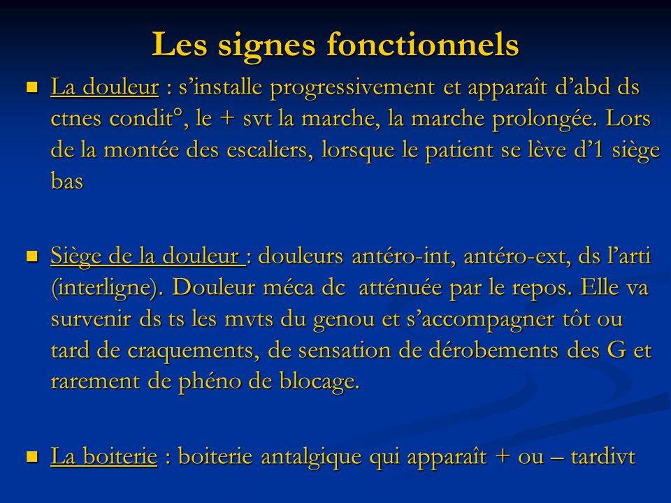 Les signes fonctionnels La douleur : sinstalle progressivement et apparaît dabd ds ctnes condit°, le + svt la marche, la marche prolongée.