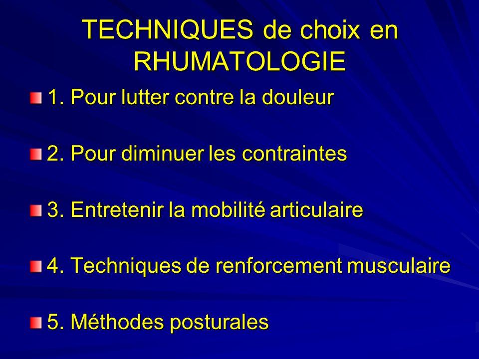 TECHNIQUES de choix en RHUMATOLOGIE 1.Pour lutter contre la douleur 2.