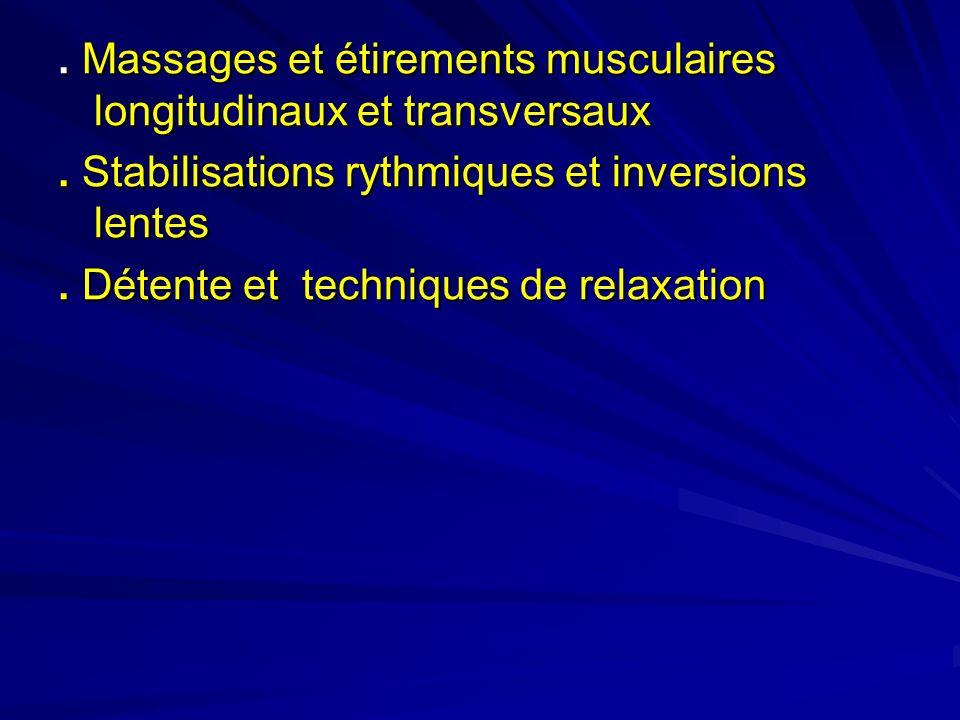 Massages et étirements musculaires longitudinaux et transversaux.