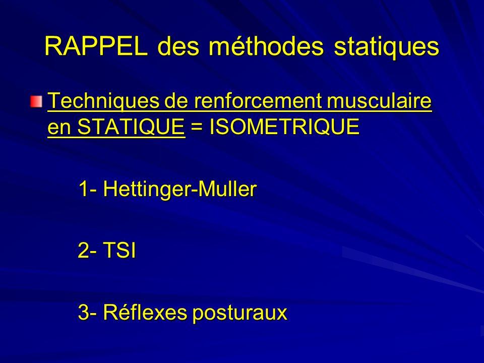 RAPPEL des méthodes statiques Techniques de renforcement musculaire en STATIQUE = ISOMETRIQUE 1- Hettinger-Muller 2- TSI 3- Réflexes posturaux