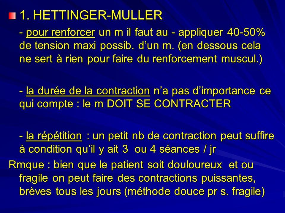 1.HETTINGER-MULLER - pour renforcer un m il faut au - appliquer 40-50% de tension maxi possib.