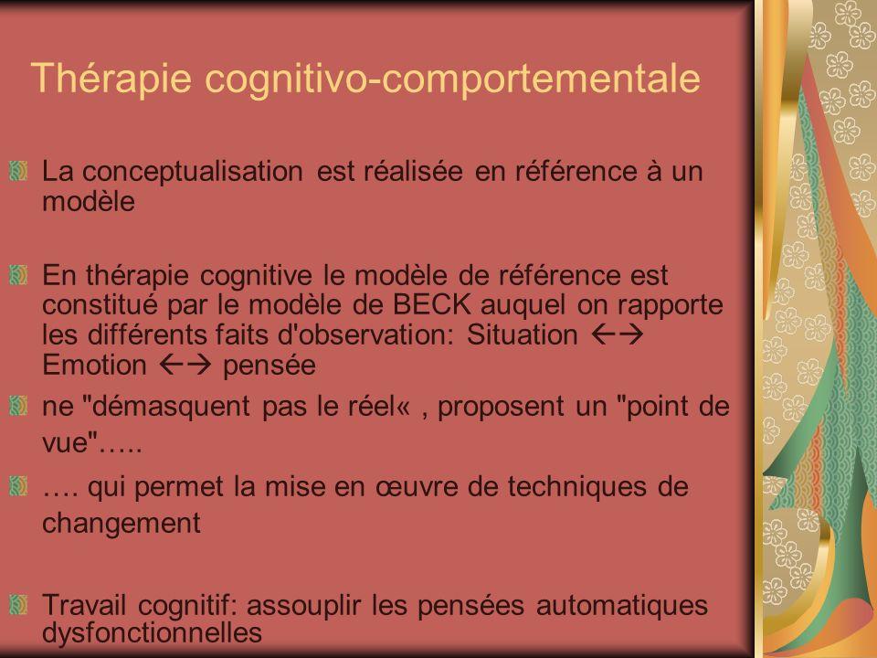 Thérapie cognitivo-comportementale La conceptualisation est réalisée en référence à un modèle En thérapie cognitive le modèle de référence est constit