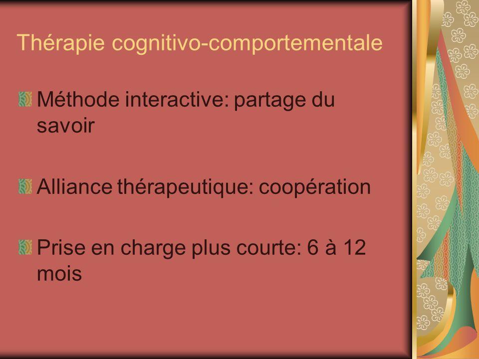 Thérapie cognitivo-comportementale Méthode interactive: partage du savoir Alliance thérapeutique: coopération Prise en charge plus courte: 6 à 12 mois