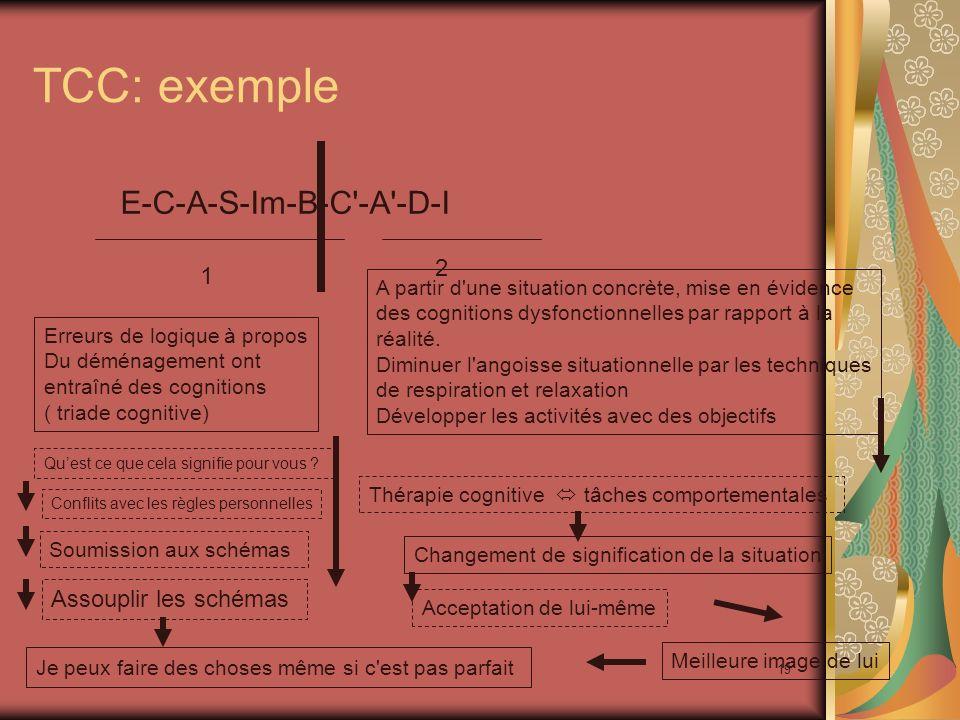 19 TCC: exemple E-C-A-S-Im-B-C'-A'-D-I 1 2 Je peux faire des choses même si c'est pas parfait Erreurs de logique à propos Du déménagement ont entraîné